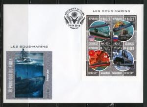 NIGER 2018 SUBMARINES SHEET FIRST DAY COVER