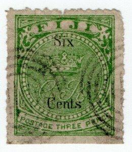 (I.B) Fiji Postal : 6c on 3d Yellow-Green (SG14) Bogus Reprint