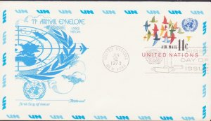 USA UNITED NATIONS AIR MAIL COVER ENVELOPE FDC 1973 R17497