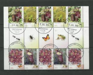 Australia - Scott 3966-3969-Carnivorous Plants  -2013-VFU-Gutter Strip-10 Stamps