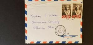 1958 Papeeti Tahiti to Alliance Ohio USA Business Air Mail Cover