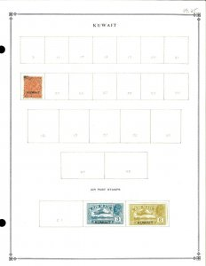 Kuwait 1929-1934 M & U Hinged on 1 Scott International Blank Page
