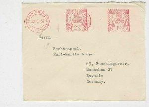 British 1957 machine cancel  stamps cover ref 21607