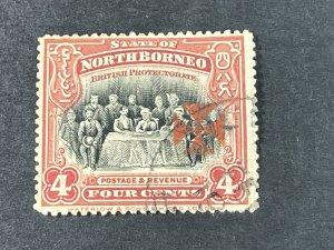 NORTH BORNEO # B4a--USED---SINGLE--DULL RED(PERF 15)--SEMI-POSTAL---1916