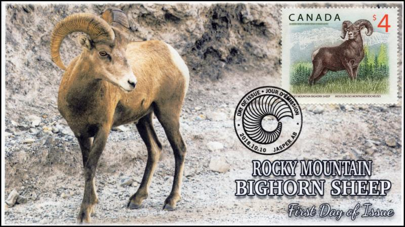 CA18-040, 2018, Bighorn Sheep, Pictorial, FDC, Rocky Mountain, $4 stamp