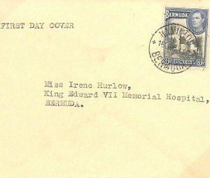 BERMUDA KGVI FDC Hamilton First Day Cover Hospital 1941 WW2{samwells-covers}U77