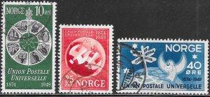 Norway 299-301 Used - U.P.U. (Universal Postal Union), 75th Anniversary
