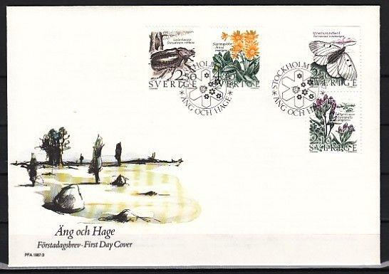 / Sweden, Scott cat. #1623-1626. Insects & Flowers issue. First day cover.