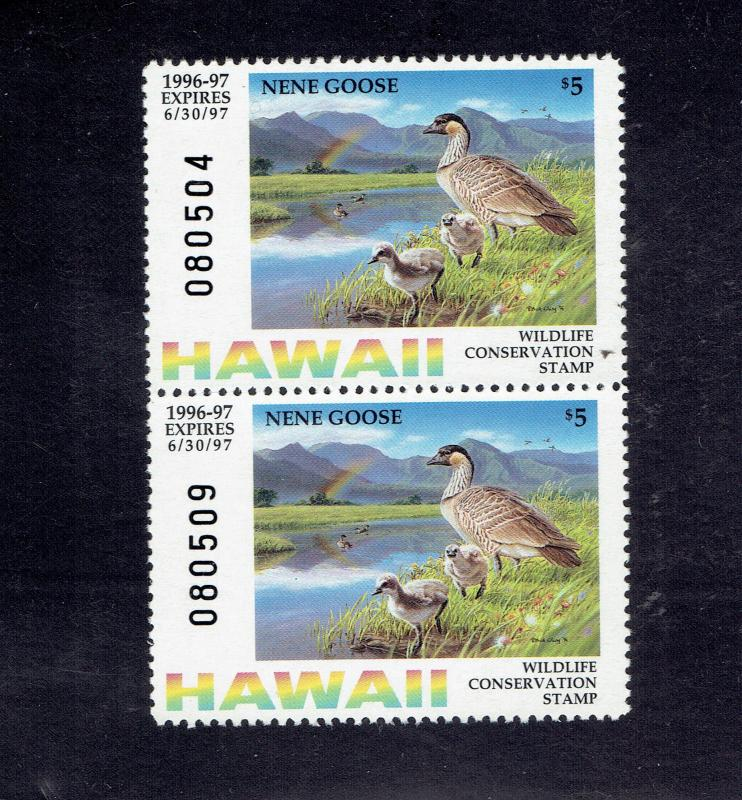 HAWAII - PAIR -  $5.00, 1996, MNH- ORIGINAL GUM - GEM