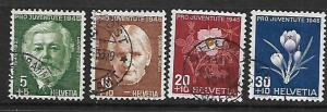 SWITZERLAND, B150-B153, U, 1945 SET
