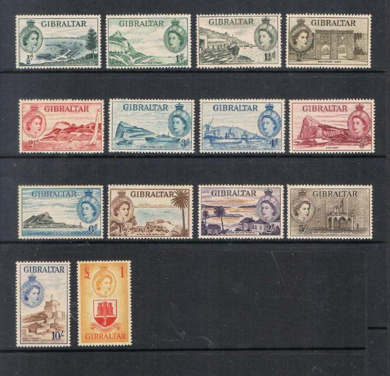 Gibraltar 1953 QEII SG 145-158 set of 14 MNH
