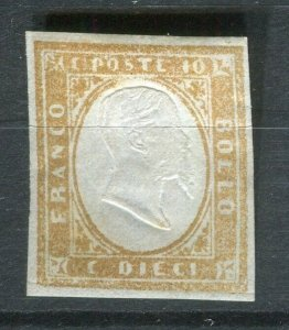 SARDINIA; 1855 early classic Imperf issue Mint unused Shade of 10c. value
