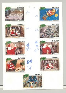 Anguilla #453-462 Christmas, Disney 9v & 1v S/S Mounted on 2 Cards