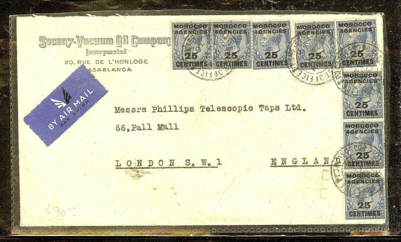 MOROCCO AGENCIES (P1206B) 1936  KGV 25CX8 ON A/M COVER TO ENGLAND OIL AD