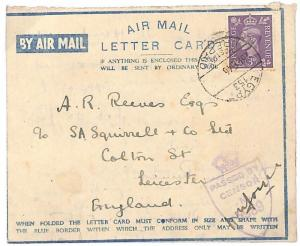 WW192 1946 GB *LEICESTER* Egypt Cover{samwells-covers}PTS