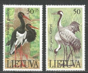 1991 Lithuania 489-490 Storks and cranes