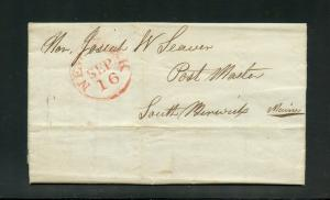 UNITED STATES 1835  NEW YORK  STAMPLESS  COVER TO MAINE