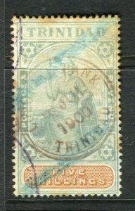 TRINIDAD; 1890s classic Britania issue used 5s. value (toned paper )