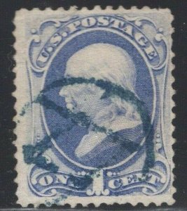 #145 Used Fancy Masonic Square and Compass Cancel in Blue - Sm. Faults (JH 5/4)