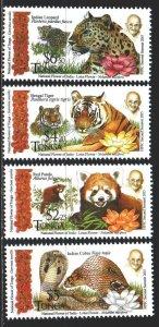 Tonga. 2016. 2074-77. Fauna, predators, Gandhi. MNH.