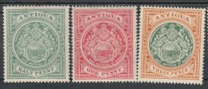 ANTIGUA 1908 ARMS 1/2D 1D AND 3D WMK MULTI CROWN CA