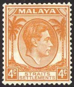 Straits Settlements Sc# 240 MH 1937-1941 4c brown orange KGVI