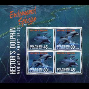NEW ZEALAND 1991 - Scott# B140a S/S Dolphins LH