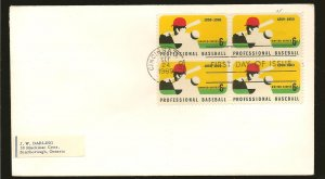 USA 1381 Block of 4 Baseball Batter 1969 First Day Cover