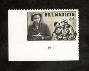 4445 Bill Mauldin Single W/Plate Number Mint/nh (Free Shipping)
