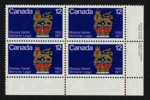 Canada 735 BR Plate Block MNH Governor General's Standard, Crest