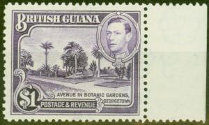 British Guiana 1938 $1 Brt Violet SG317 V.F MNH
