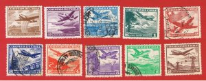 Chile #C155-C164 MVFLH & VF used  Air Post