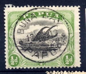 Papua sg 66 1/2d green and black, fine used BUNA BAY Cancel 1912