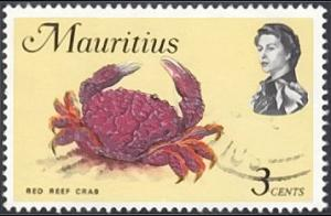 Mauritius # 340b used ~ 3¢ Red Reef Crab, wmk. 373