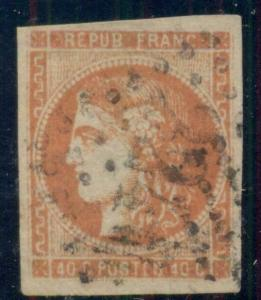 FRANCE #47, 40c orange used, 4 margins, VF, Scott $100.00