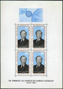 Mauritania C71a,MNH.Michel 333 Bl.4. Konrad Adenauer,chancellor of Germany,1968.