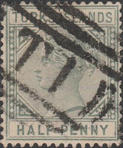 TURKS Islands - 1893 - SG70 1/2d dull green die II Wmk Crown CA, p.14 - used