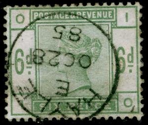 SG194, 6d dull green, FINE USED, CDS. Cat £240. IO
