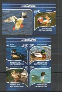 CA335 2015 CENTRAL AFRICA FAUNA BIRDS DUCKS LES CANARDS KB+BL MNH