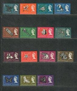 Solomon Islands Sc#128-142 M/LH+NH/VF, Cv. $43.70