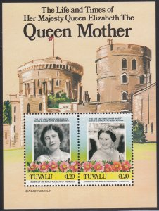 Tuvalu 1985 MNH Sc #315 Souvenir sheet $1.20 Queen Mother