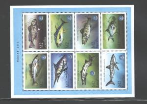 LESOTHO 1998 MARINE LIFE - FISH #1144a-h  MNH