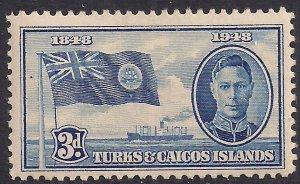 Turks & Caicos 1948 KGV1 3d Blue MM SG 212 ( G1137 )