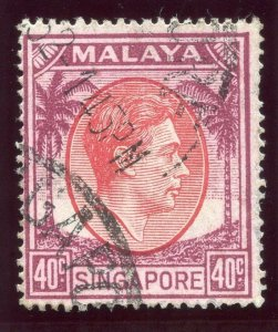 Singapore 1951 KGVI 40c red & purple very fine used. SG 26. Sc 16a.