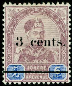 MALAYSIA - Johore SG30, 3c on 6c dull purple & blue, VLH MINT.