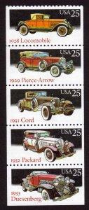 MALACK 2385a, 25c Classic Cars,  Booklet Pane n4954
