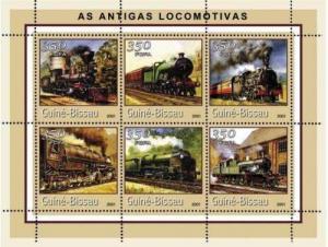 Guinea-Bissau MNH S/S Locomotive 2001 6 Stamps