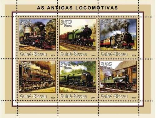 Guinea-Bissau MNH S/S Locomotives 2001 6 Stamps