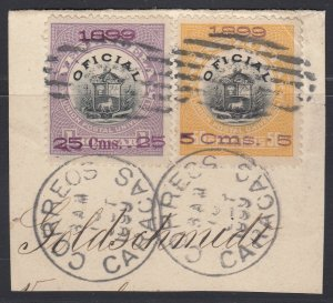 Venezuela 1899. Used on piece. Scott O6 and 9, SG O187B and O190A