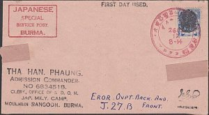 BURMA JAPAN OCCUPATION WW2 - old forged stamp on faked cover................F452
